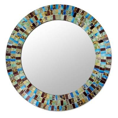 Novica Retro Dance Disco Style Mosaic Circular Wall Mirror | Wayfair Intended For Circular Wall Mirrors (#14 of 20)