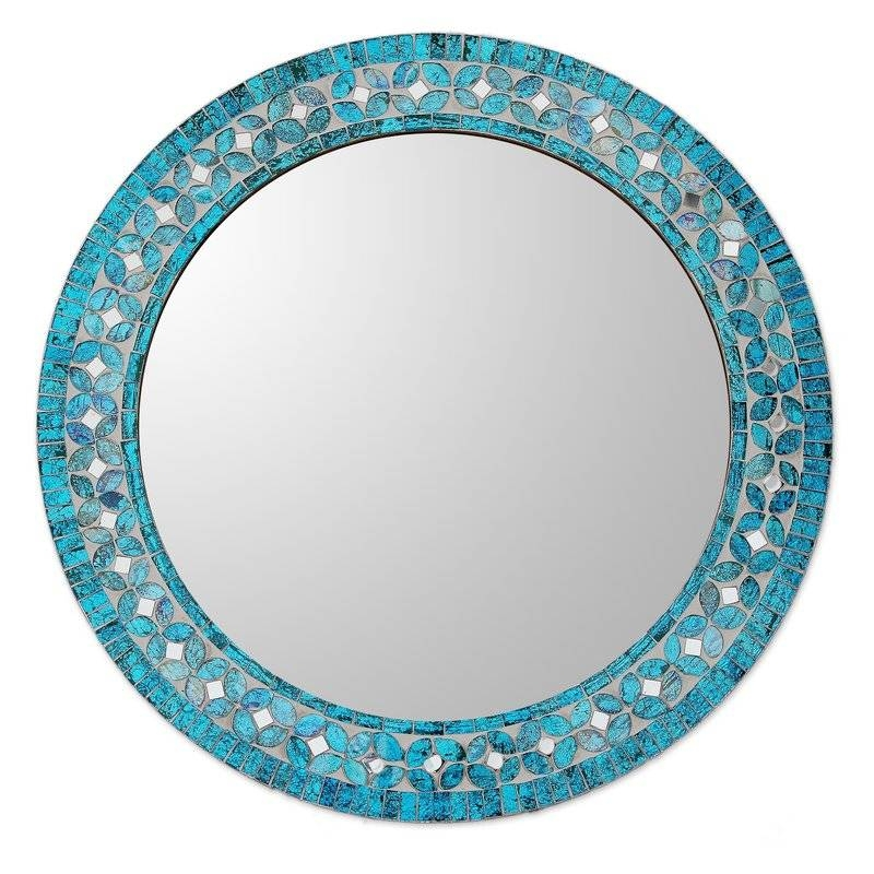 Novica Round Flower Motif Glass Mosaic Tile Wall Mirror & Reviews Pertaining To Round Mosaic Mirrors (#24 of 30)