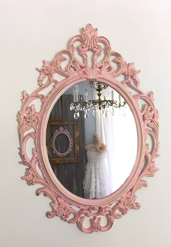 Nursery Mirror Shabby Chic Mirror Oval Ornate Mirror Inside Ornate Oval Mirrors (#11 of 20)