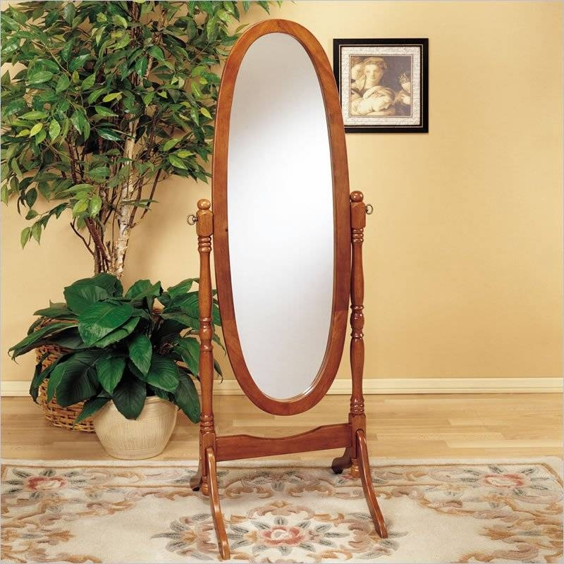 Oak Oval Free Standing Cheval Mirror – 979 – Powell Furniture Throughout Cheval Free Standing Mirrors (#24 of 30)