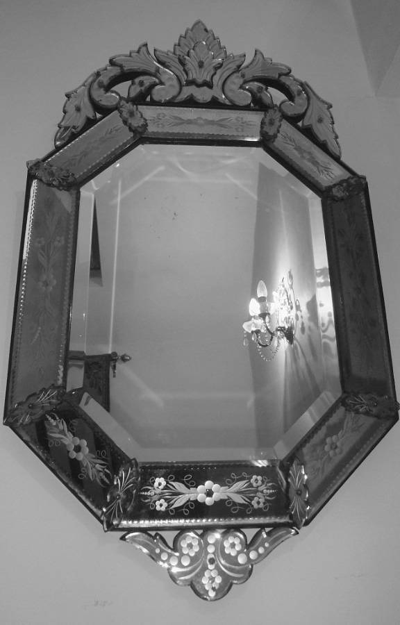 Octagonal Venetian Cushion Mirror In From On The Wall Antiques Pertaining To Black Venetian Mirrors (#21 of 30)