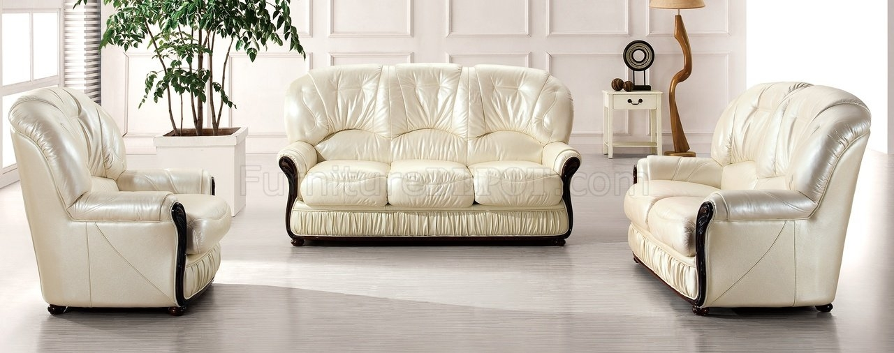 Off White Leather Modern 43 Sofa Esf Woptions Wood Framing Throughout Off White Leather Sofa And Loveseat (#8 of 15)