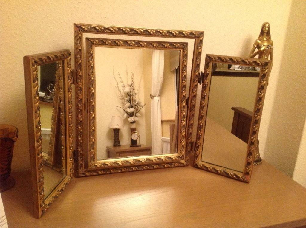 Old Triple Ornate Gold Dressing Table Mirror | In Norwich, Norfolk Inside Gold Dressing Table Mirrors (View 16 of 30)