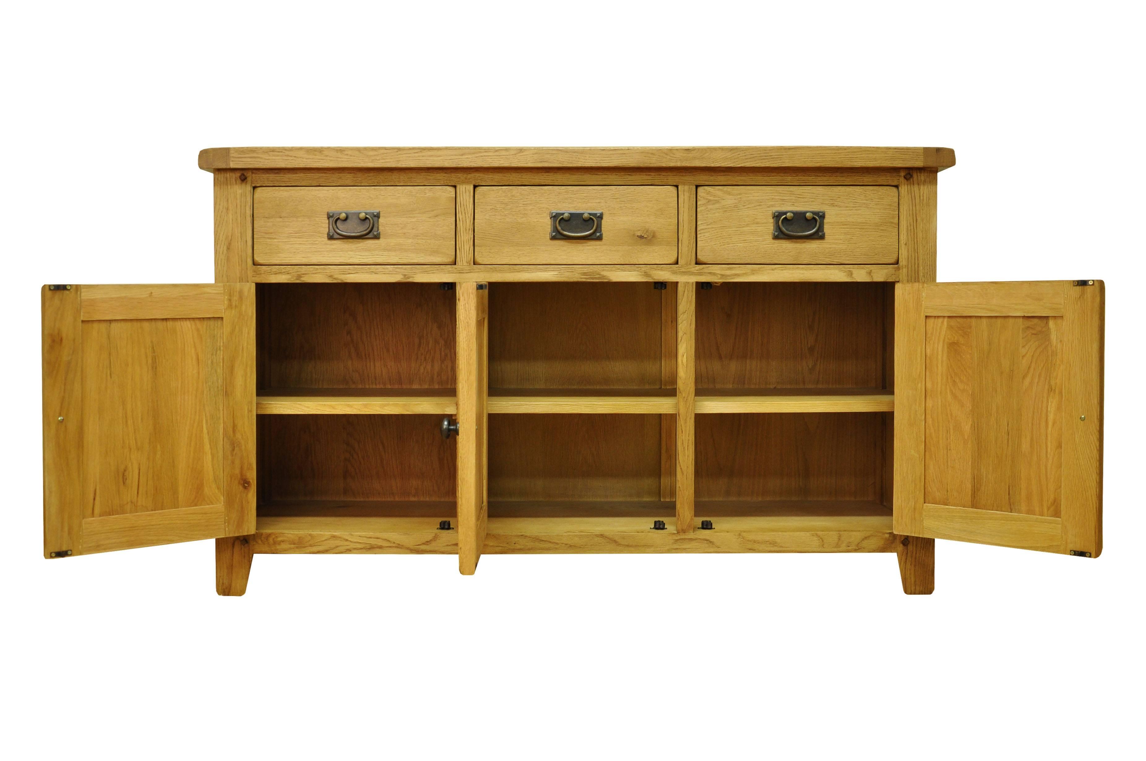 Oldbury 3 Door 3 Drawer Rustic Oak Sideboardstanton 3 Door 3 With Light Oak Sideboards (View 12 of 20)
