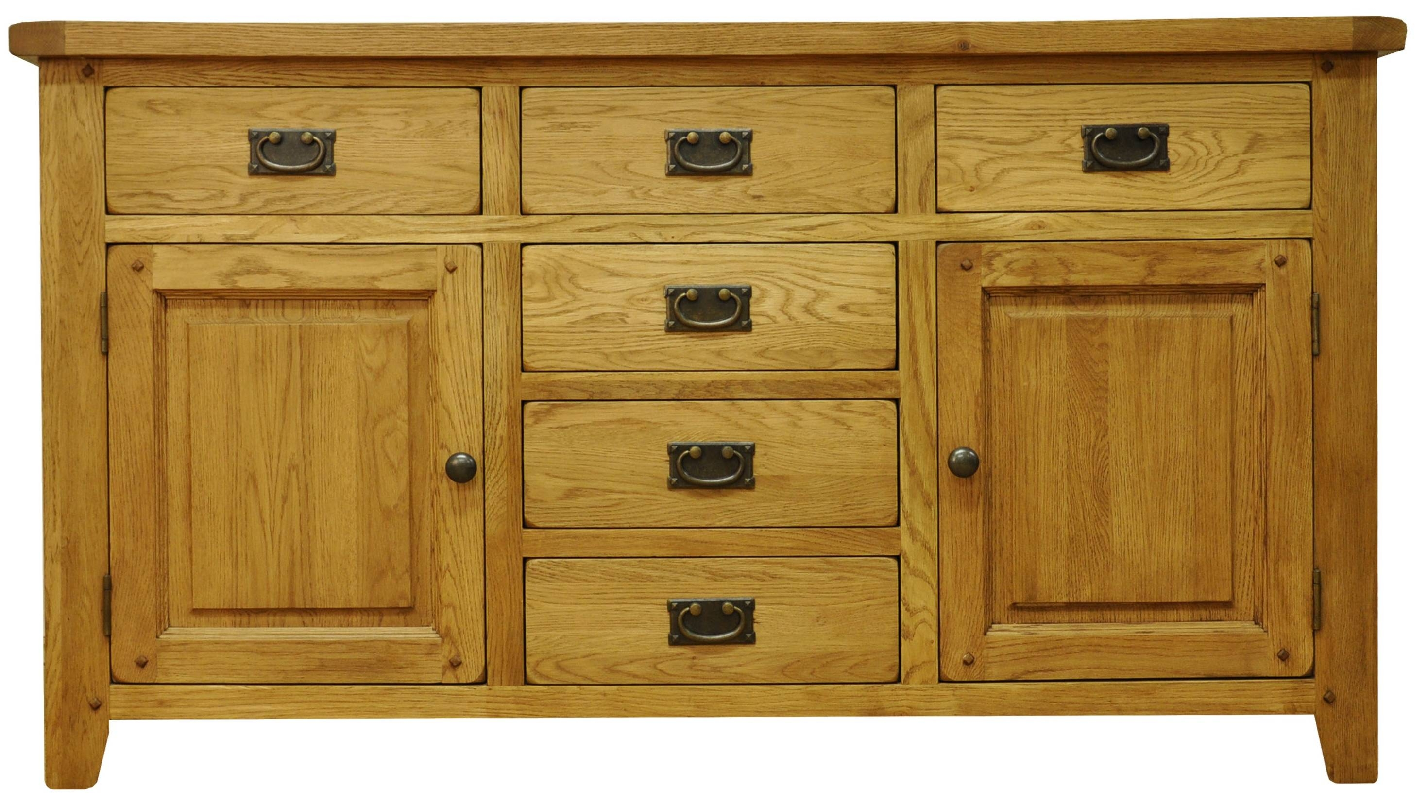 Oldbury Rustic Oak Sideboard With 2 Doors And 6 Drawersstanton Throughout Fully Assembled Sideboards (#16 of 20)