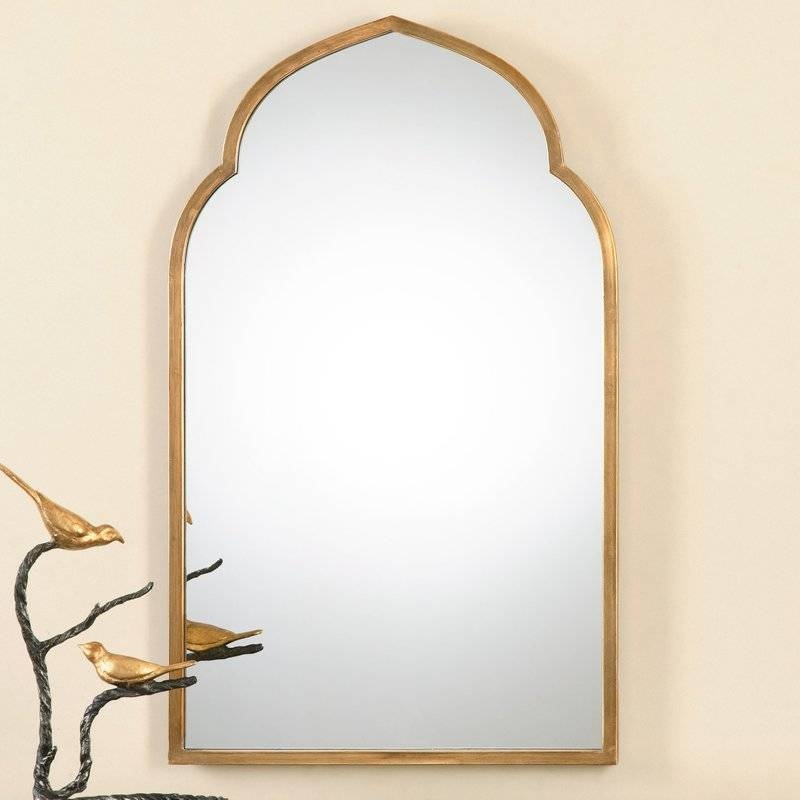 One Allium Way Gold Arch Wall Mirror & Reviews | Wayfair Throughout Gold Arch Mirrors (#18 of 20)