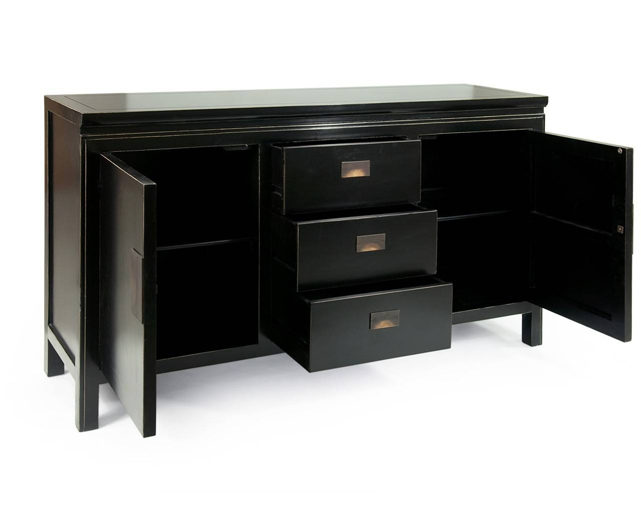 Oriental Black Lacquered Sideboards – Shanxi Large In Black Sideboards (#8 of 20)