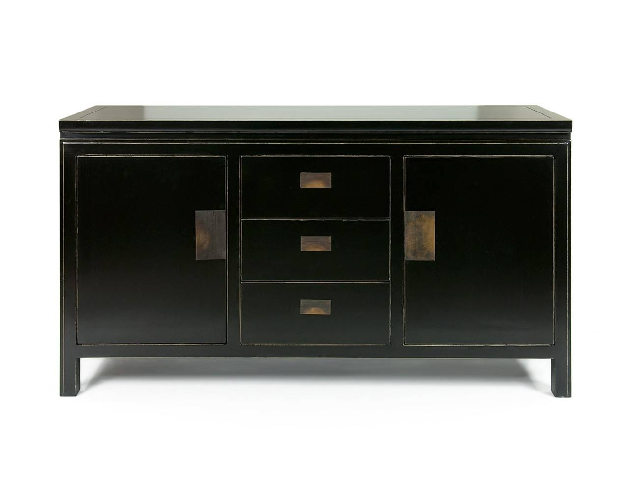 Oriental Black Lacquered Sideboards – Shanxi Large Within Sideboards Black (#11 of 20)