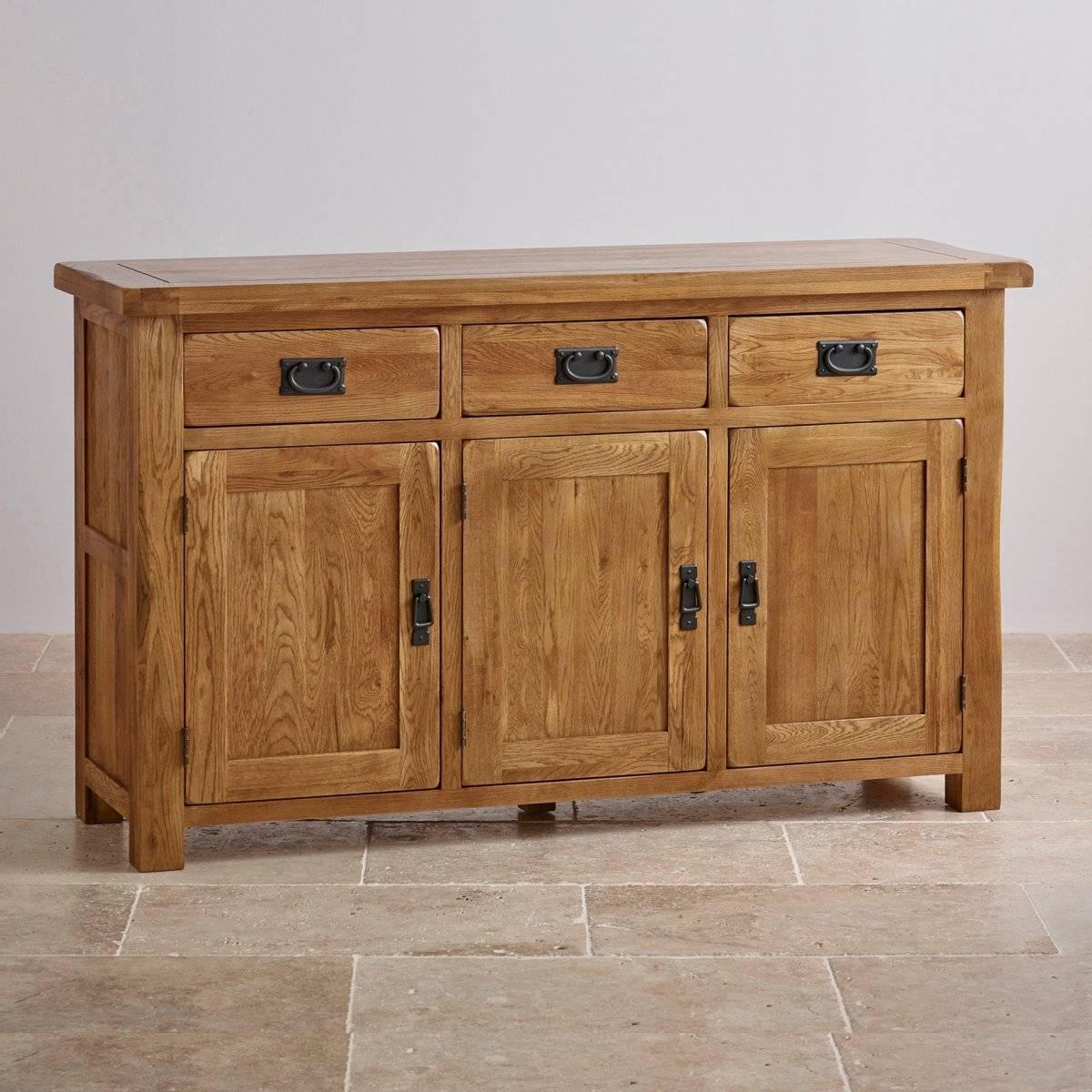 Original Rustic Large Sideboard In Solid Oak | Oak Furniture Land Throughout Oak Sideboards (#13 of 20)
