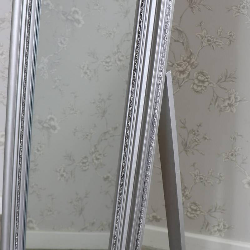 Ornate Antique Silver Full Length Vintage Freestanding Cheval Inside Full Length Antique Mirrors (#20 of 30)