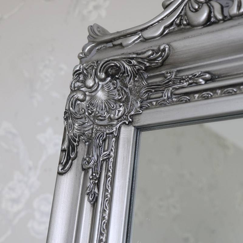 Ornate Antique Silver Full Length Vintage Freestanding Cheval With Regard To Full Length Antique Mirrors (#22 of 30)