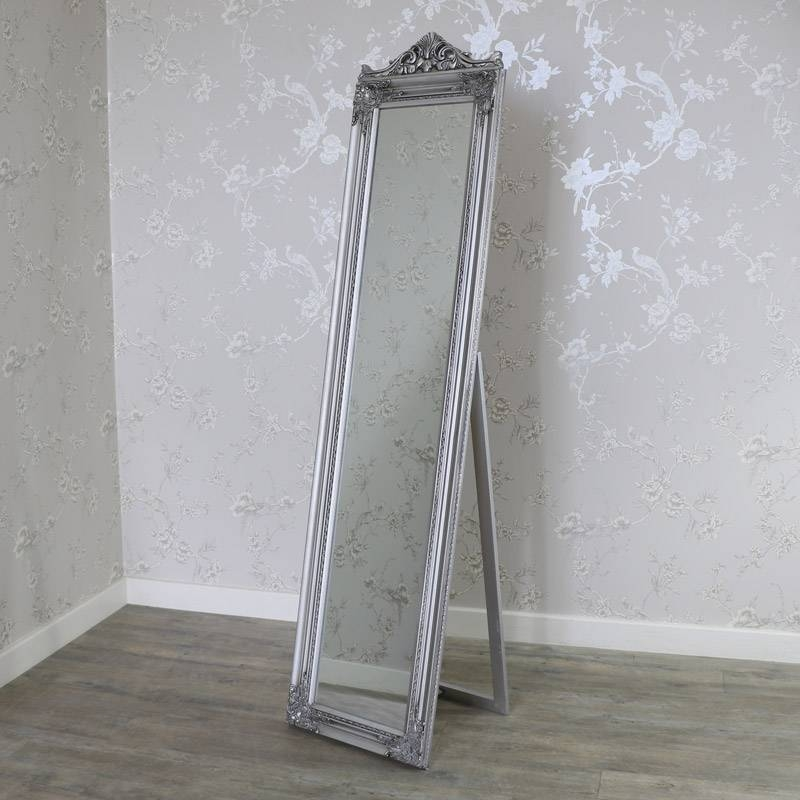 Ornate Antique Silver Full Length Vintage Freestanding Cheval With Regard To Full Length Antique Mirrors (#21 of 30)