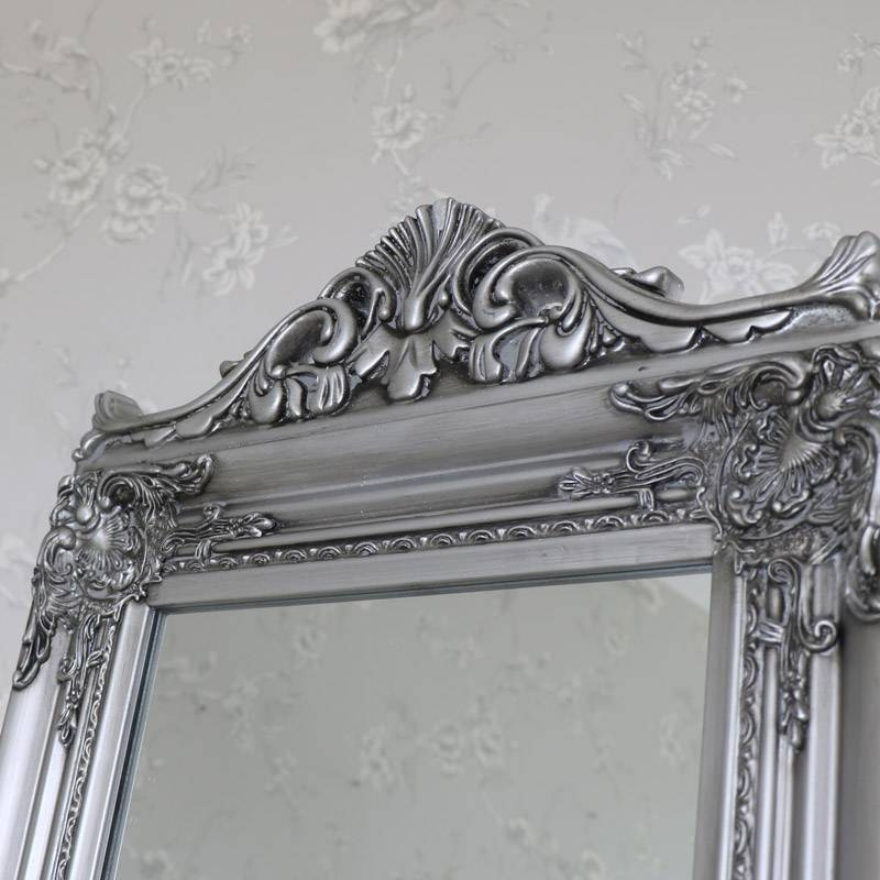 Ornate Antique Silver Full Length Vintage Freestanding Cheval Within Free Standing Silver Mirrors (#26 of 30)