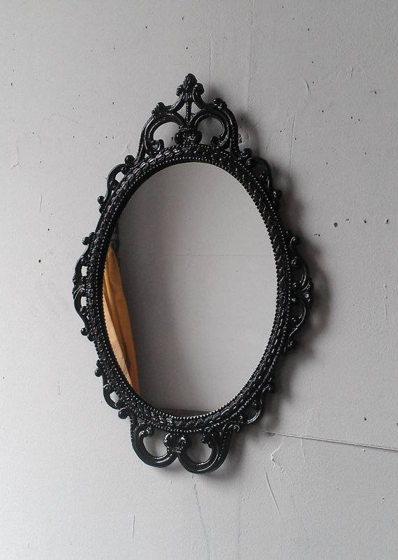 Ornate Black Mirror In 17X12 Vintage Metal Frame Black With Regard To Black Ornate Mirrors (#26 of 30)