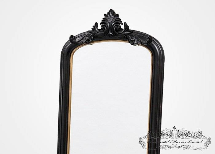 Ornate Black Mirror With Stand From Ornamental Mirrors Limited Within Free Standing Black Mirrors (#27 of 30)