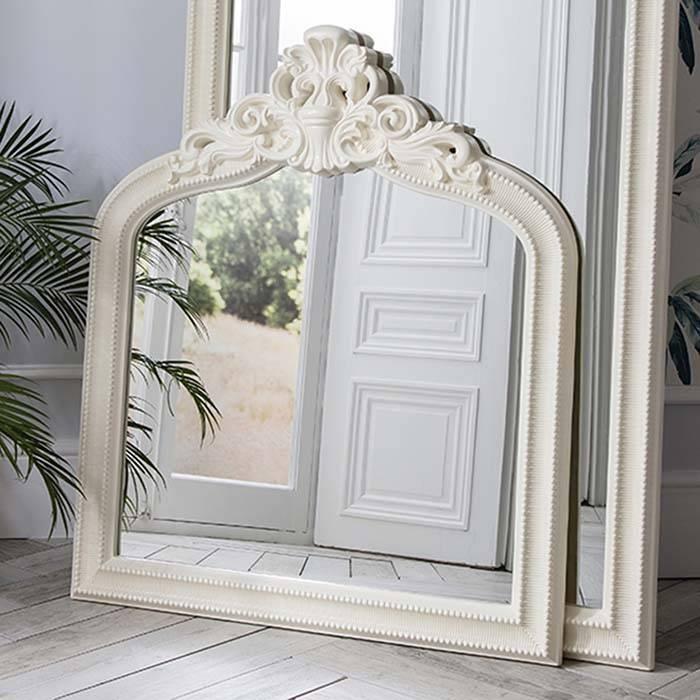 Ornate Cream Crested Overmantel Mirror 112 X 97Cm Josephine Inside Cream Ornate Mirrors (#18 of 20)