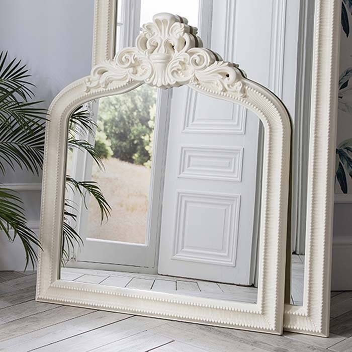 Ornate Cream Crested Overmantel Mirror 112 X 97Cm Josephine With Oval Cream Mirrors (#26 of 30)