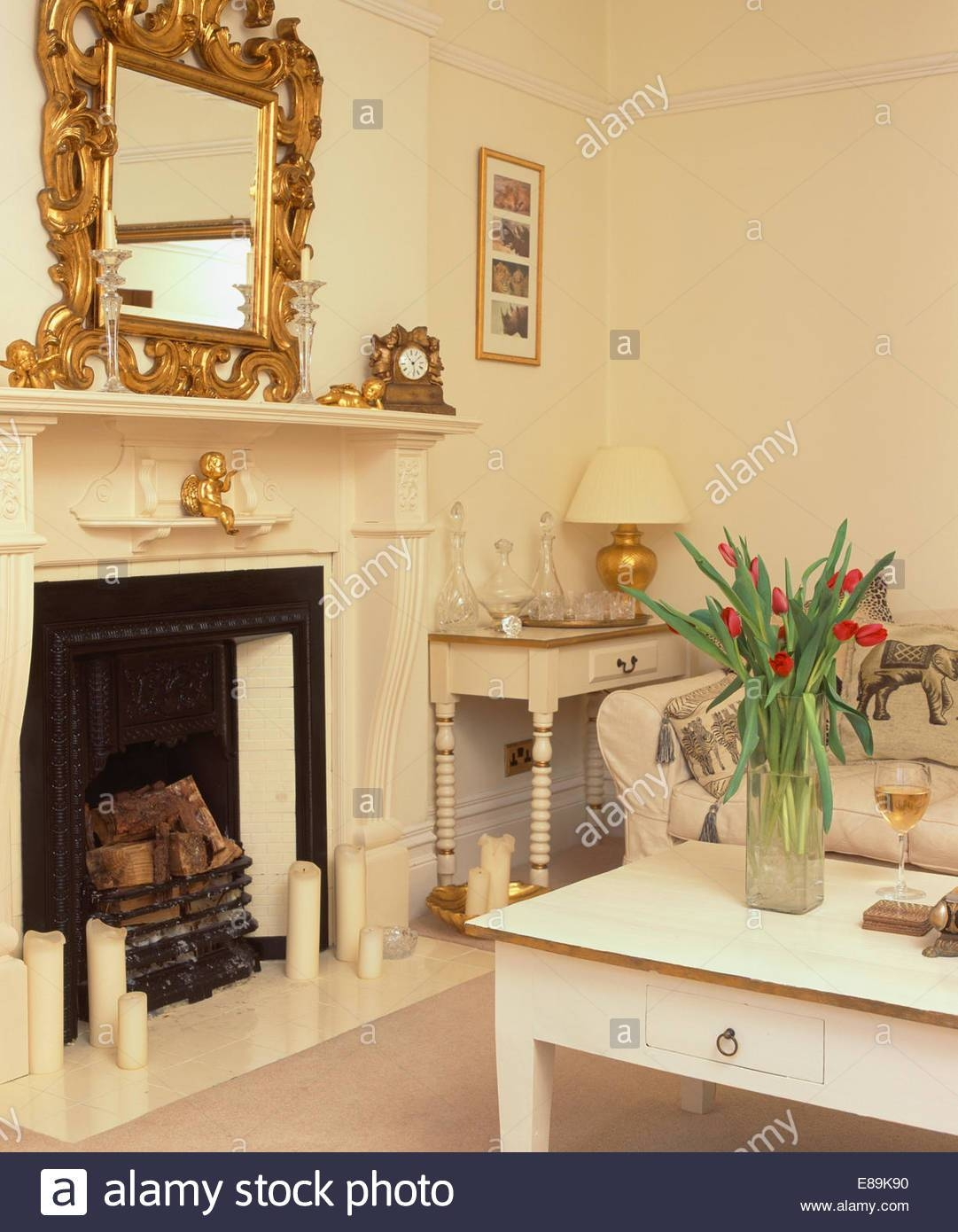 Ornate Gilt Mirror Above Fireplace In Cream Living Room With Cream With Ornate Gilt Mirrors (#21 of 30)