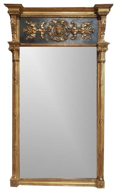 Ornate Lion's Head Panel And Columns, Black And Gold Framed Mirror With Regard To Victorian Style Mirrors (View 10 of 30)