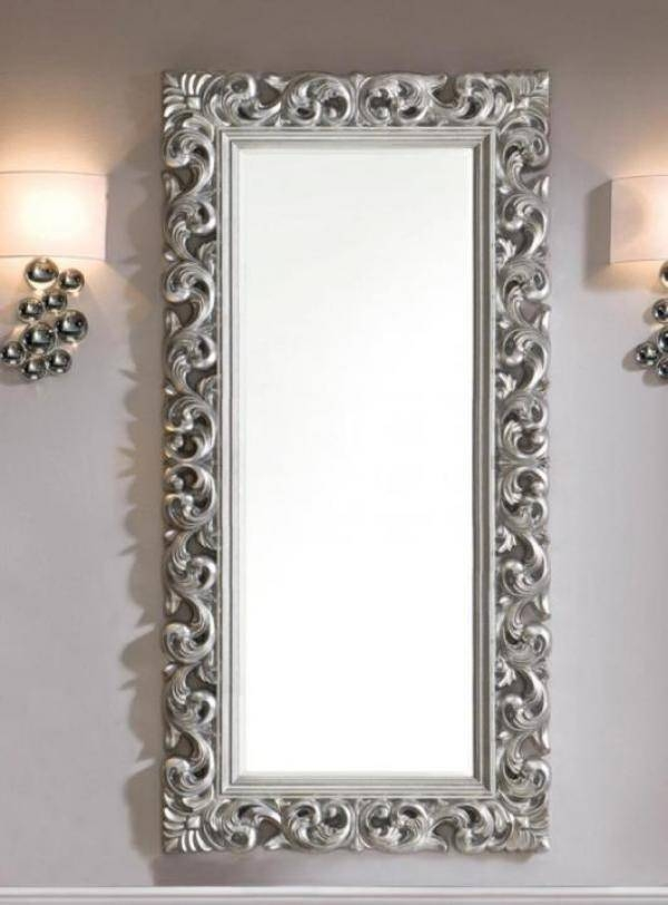 Ornate Mirror In Silver Colour Finish Pertaining To Ornate Silver Mirrors (View 5 of 20)