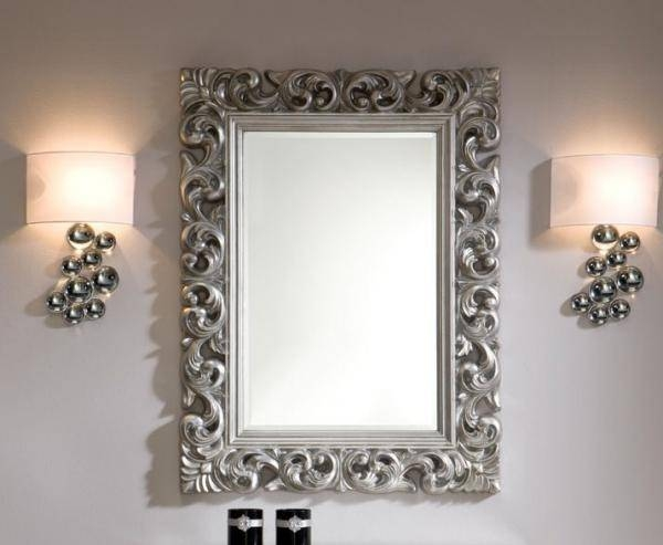 Ornate Mirror In Silver Colour Finish With Regard To Silver Ornate Mirrors (#14 of 30)