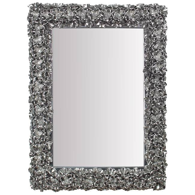 Ornate Natural Tin Flower Sculpture Wall Mirror With Pewter Ornate Mirrors (View 26 of 30)