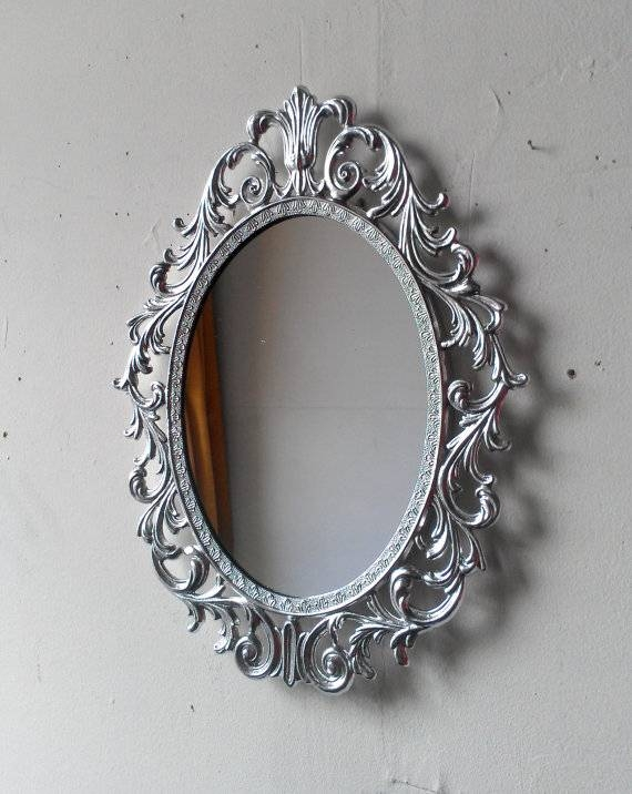 Ornate Princess Mirror In Shiny Silver 1310 Inch Vintage In Ornate Oval Mirrors (#17 of 20)