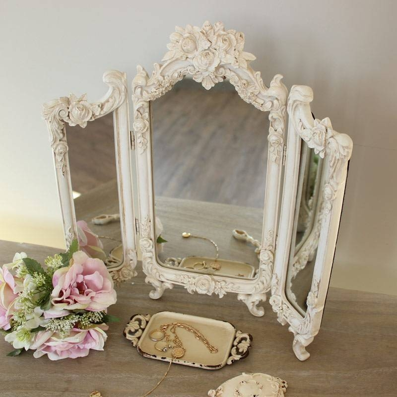 Ornate Rose Triple Mirror – Melody Maison® Intended For Dressing Table Mirrors (View 18 of 20)