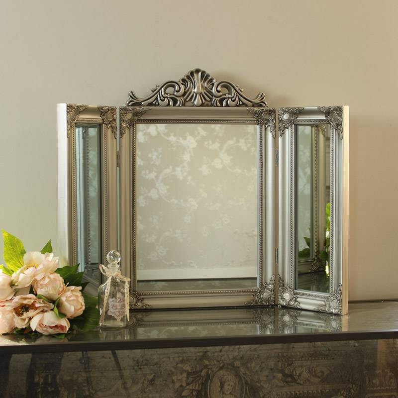 Ornate Silver Dressing Table Triple Mirror – Melody Maison® In Silver Dressing Table Mirrors (#16 of 20)