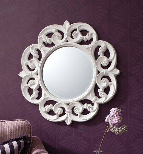 Ornate Style Cream Round Wall Mirror | French Mirror Company Pertaining To French Style Wall Mirrors (#28 of 30)