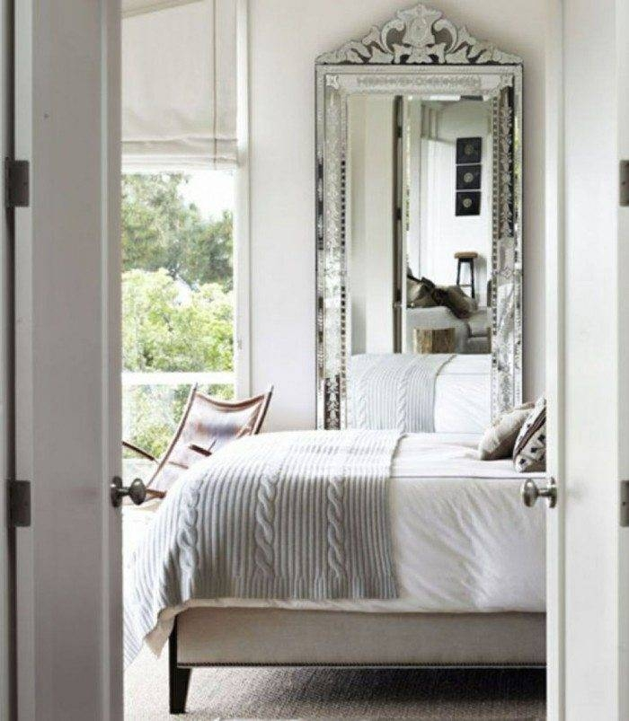 Ornate Tall Mirror Used In The Bedroom With White Walls – Using Intended For Tall Ornate Mirrors (#19 of 30)