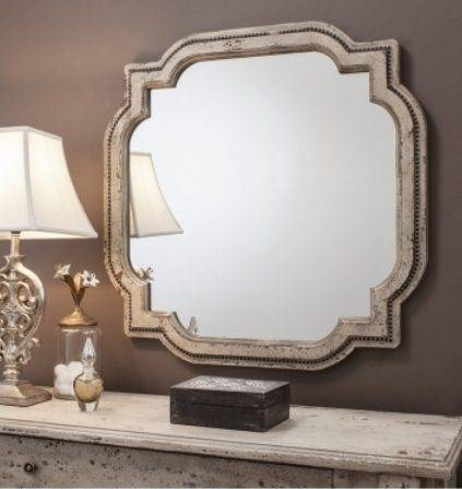 Ornate Vintage Style Cream Quatrefoil Wall Mirror | French Mirror Intended For Vintage Style Mirrors (#12 of 20)