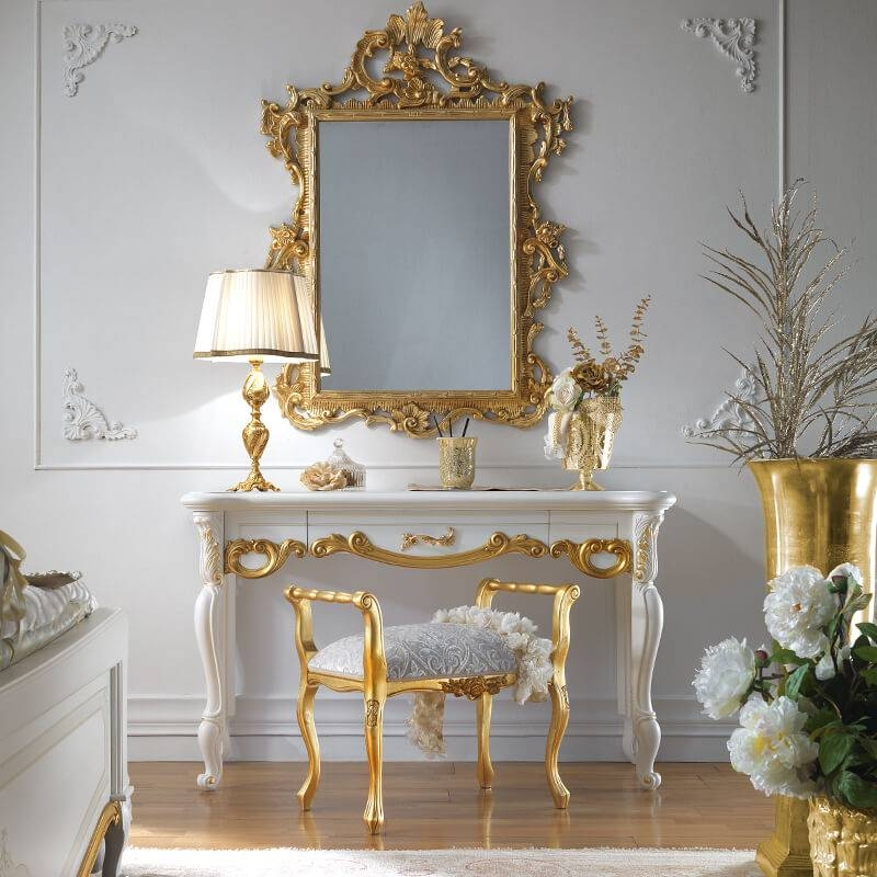 Ornate White And Gold Leaf Italian Dressing Table | Juliettes With Gold Dressing Table Mirrors (View 10 of 30)