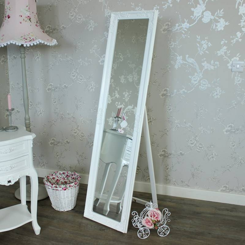 Ornate White Freestanding Cheval Mirror – Melody Maison® Throughout Cheval Free Standing Mirrors (#25 of 30)