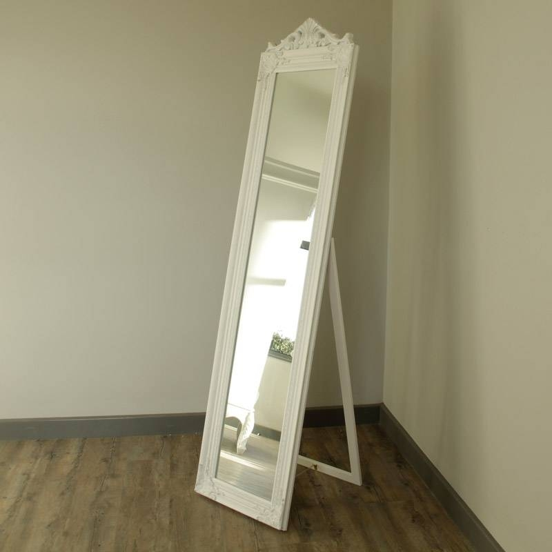 Ornate White Freestanding Mirror – Melody Maison® Within Vintage Free Standing Mirrors (#25 of 30)
