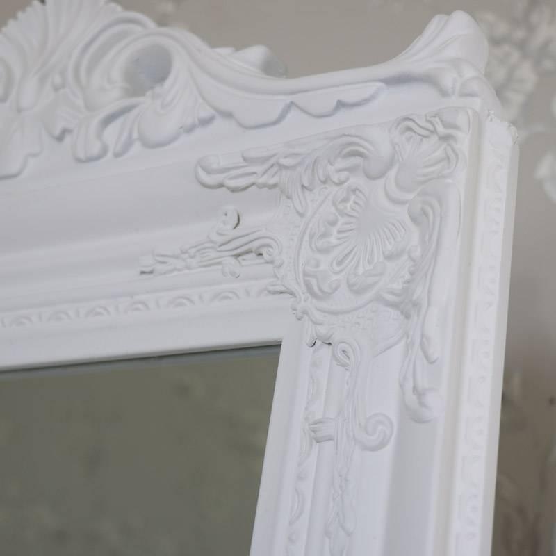 Ornate White Full Length Vintage Freestanding Cheval Mirror For Ornate Free Standing Mirrors (View 16 of 30)