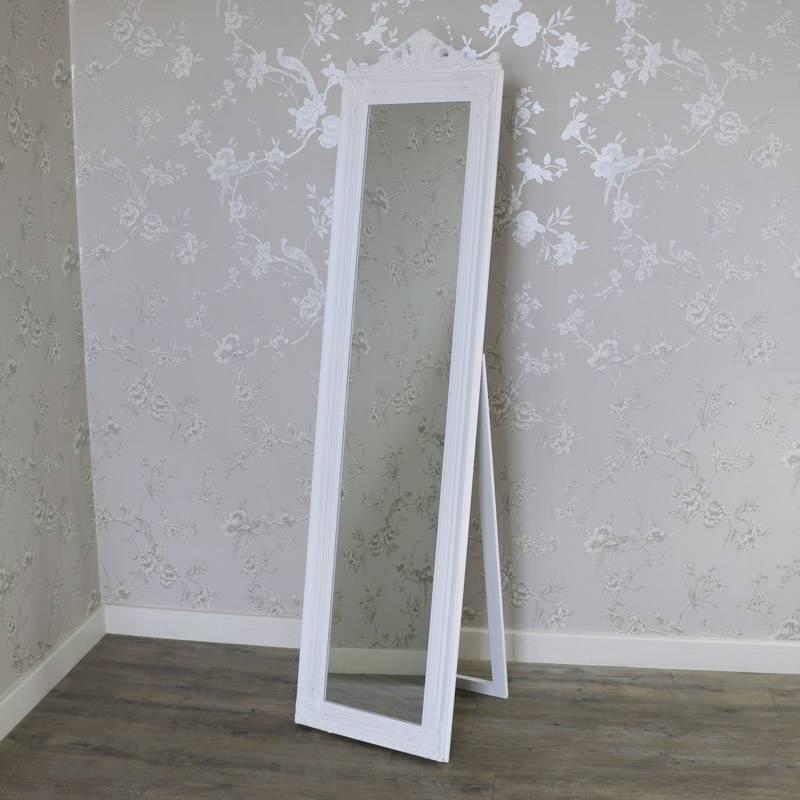 Ornate White Full Length Vintage Freestanding Cheval Mirror In Cheval Freestanding Mirrors (#29 of 30)