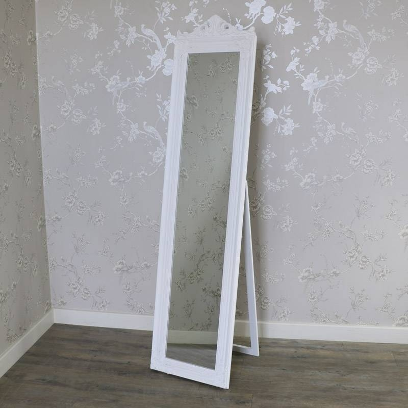 Ornate White Full Length Vintage Freestanding Cheval Mirror Throughout Ornate Free Standing Mirrors (#27 of 30)