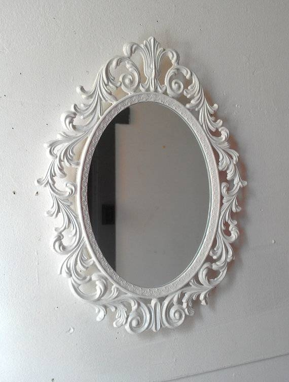 Ornate White Mirror Decorative Vintage Oval Wall Mirrors Throughout White Oval Wall Mirrors (#20 of 30)