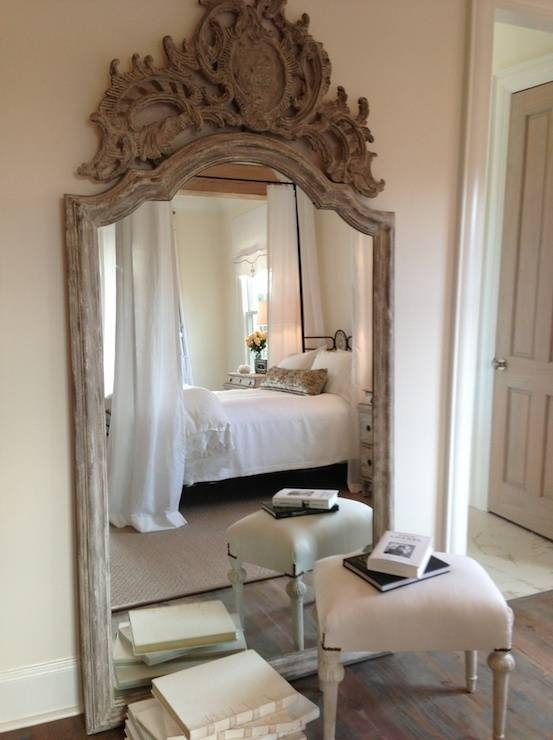 Ornate White Washed Wooden Floor Mirror Pertaining To Ornate Floor Mirrors (#27 of 30)
