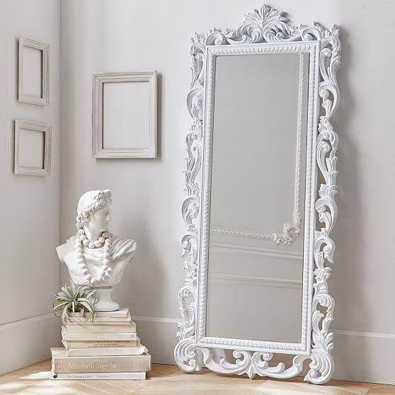 Ornate White Washed Wooden Floor Mirror Throughout White Ornate Mirrors (#15 of 20)