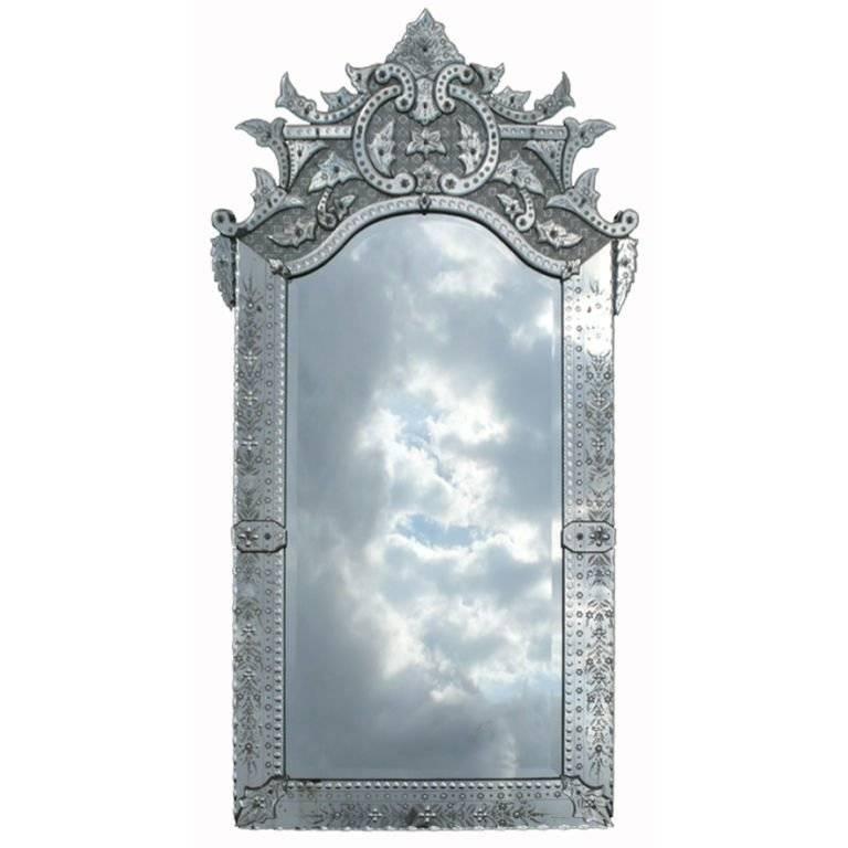 Ornately Detailed Antique Venetian Full Length Mirror At 1Stdibs Inside Antique Full Length Mirrors (#17 of 20)