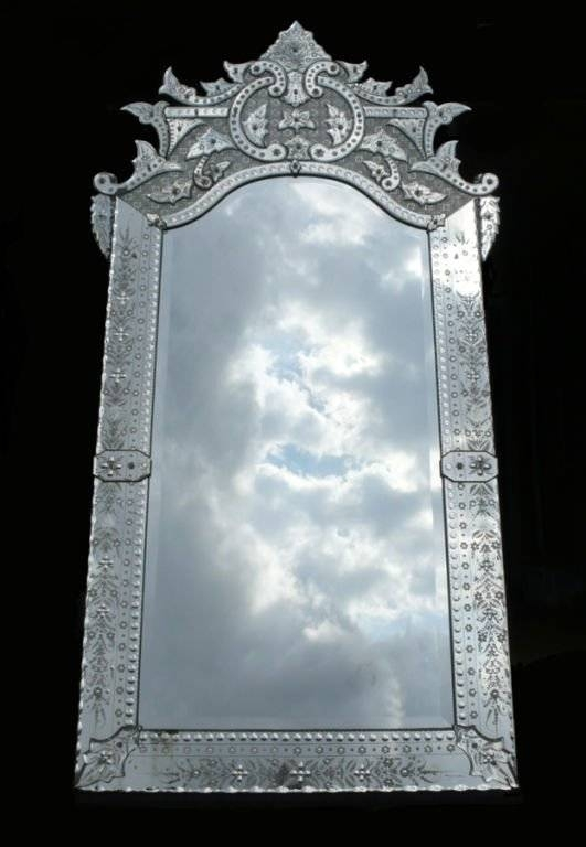 Ornately Detailed Antique Venetian Full Length Mirror At 1Stdibs Within Full Length Venetian Mirrors (#9 of 15)