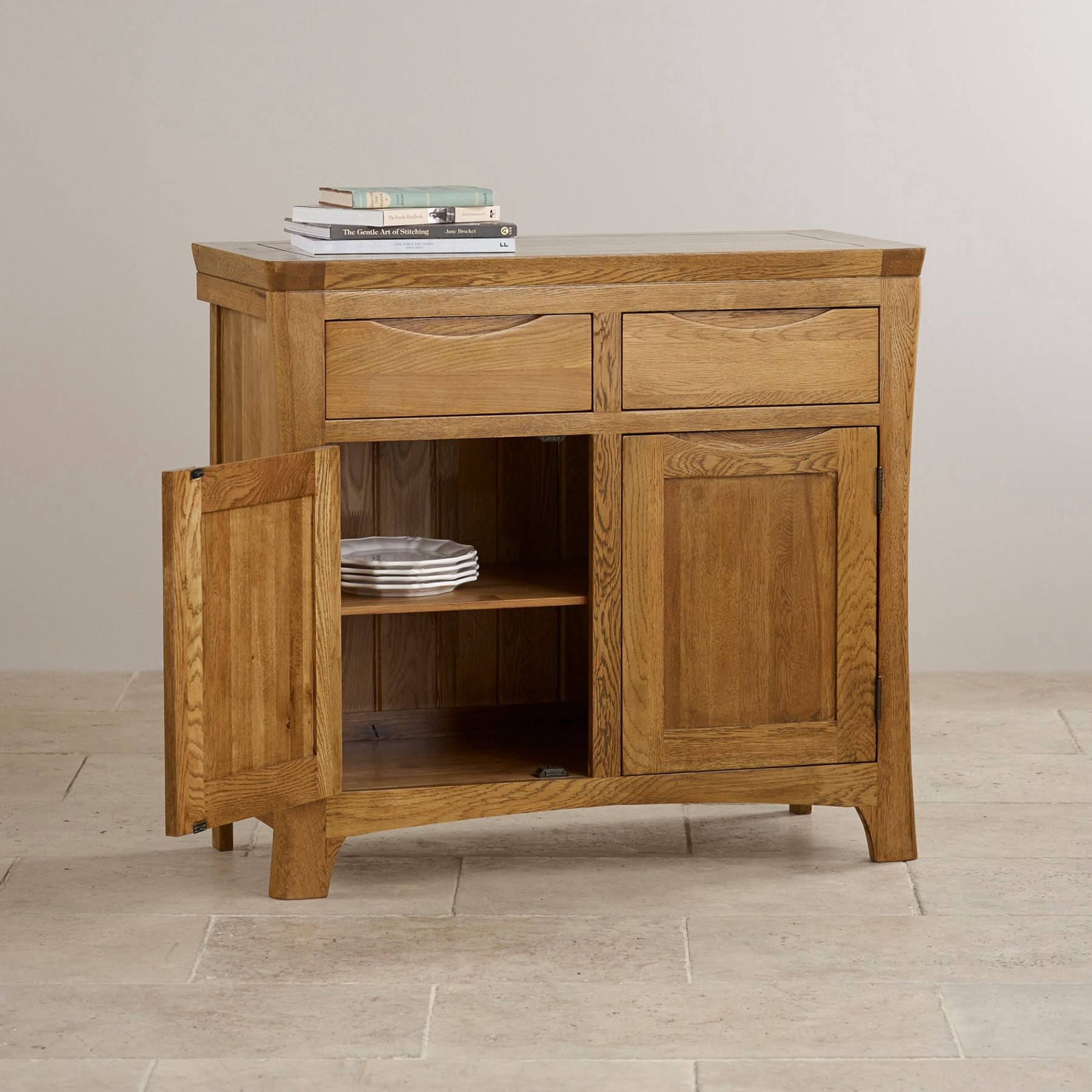 Orrick Rustic Solid Oak Small Sideboard Oak Furniture Land Intended For Small Sideboard (#14 of 20)