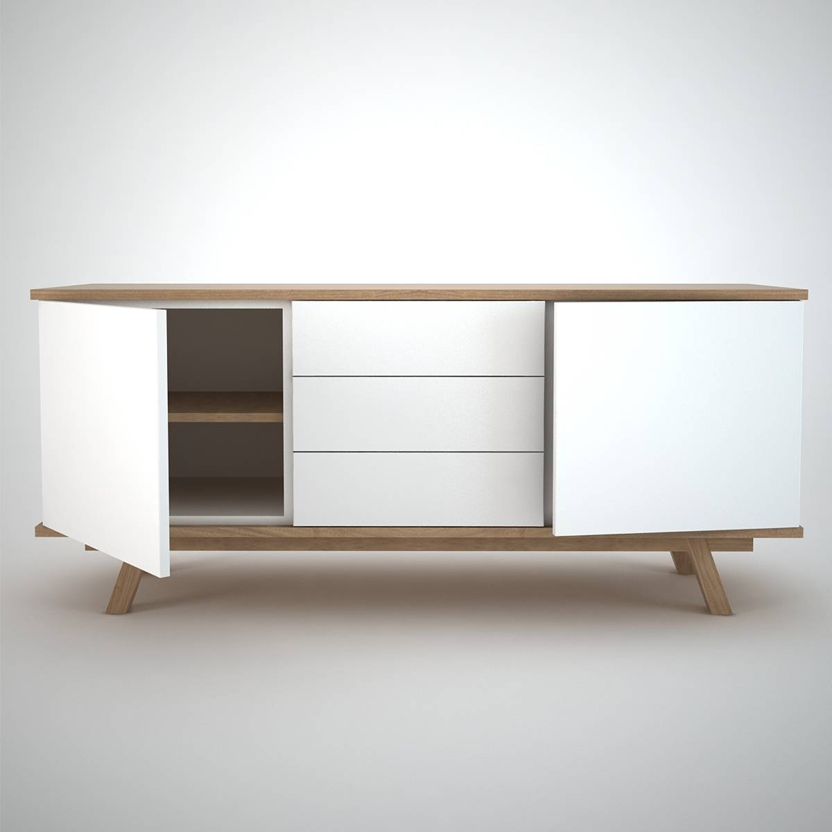 Ottawa Sideboard (2+3) White – Join Furniture In White Wooden Sideboard (#12 of 20)