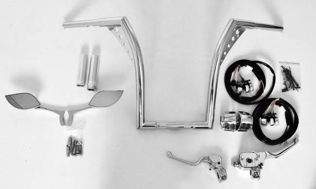 """Out Kit El Diablo 18"""" Chrome Ape Hangers With Chrome Hand Controls Inside Chrome Mirrors (View 19 of 20)"""
