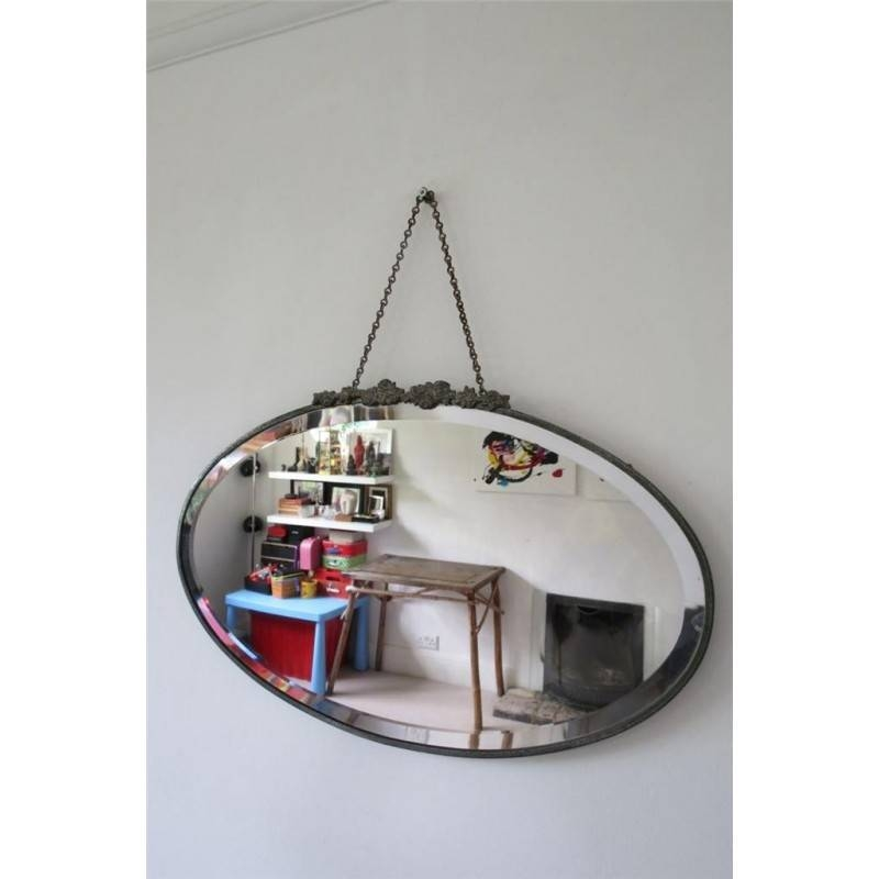 Oval Art Deco Bevel Bevelled Edge Overmantle Wall Mirror 35X56Cm Inside Vintage Bevelled Edge Mirrors (#23 of 30)