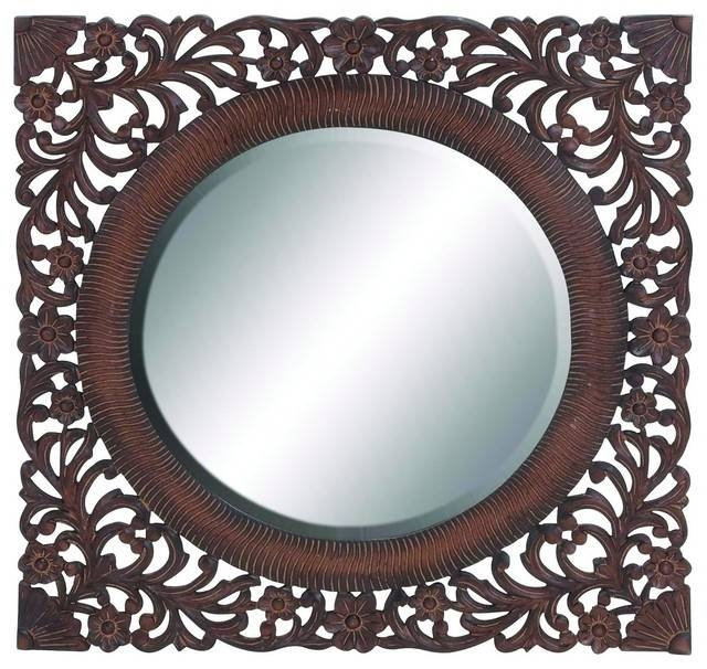 Oval Carved Mirror, Brown Finish With Wooden Frame – Traditional In Oval Shaped Wall Mirrors (#12 of 15)