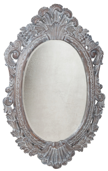 Oval Carved Wood Framed Wall Mirror – Shop Furnishmyway Pertaining To Black Oval Wall Mirrors (View 17 of 20)