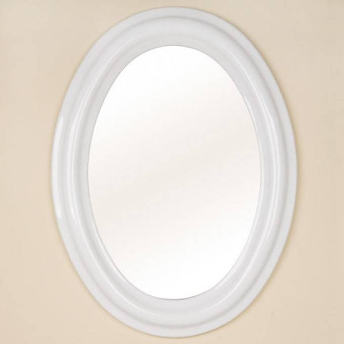 Oval Ceramic Mirror – White – Bathroom In Oval White Mirrors (#22 of 30)